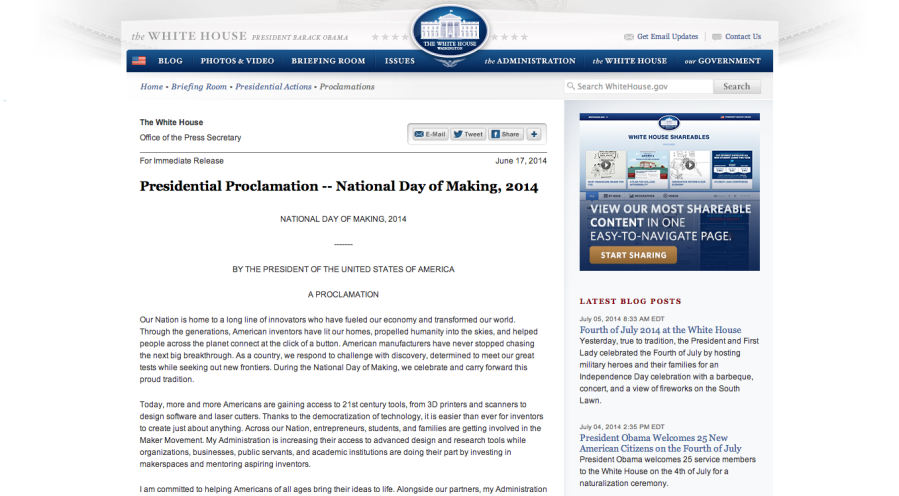 Presidential Proclamation    National Day of Making  2014   The White House